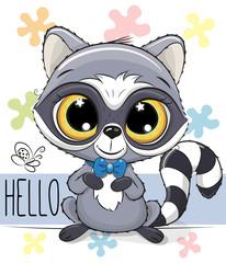 Cute Cartoon Raccoon on a flowers background