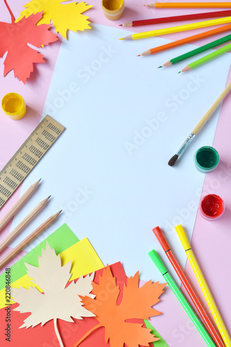 School Accessories And Supplies Pencils Paint Ruler Paper Maple Leaf Scissors