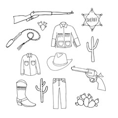Set of cowboy symbols. Cowboy jeans, shirt,  jacket,  hat, boots,  gun and  sheriff's badge. Hand drawn  illustration in doodles  cartoon style