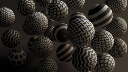 Black background with balls. 3d illustration, 3d rendering.