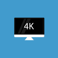 4K monitor. Vector icon