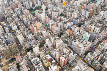 Aerial view of Hong Kong district
