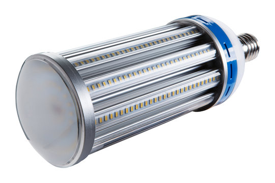 a large cylindrical led lamp lies, many LEDs, on a white background, isolate, selective focusing