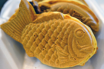Japanese Fish-shaped bread with sweet red bean filling (Taiyaki)