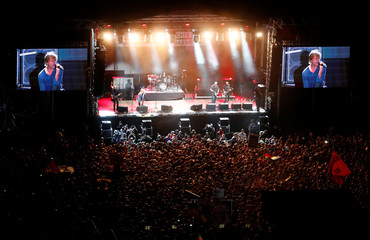 """The band """"Die Toten Hosen"""" performs during an open air """"anti-racism concert"""" in Chemnitz"""
