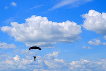 Skydiver in the sky