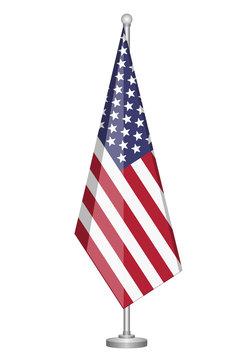 american flag with metallic pole