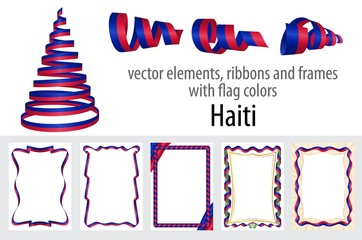 vector elements, ribbons and frames with flag colors Haiti, template for your certificate and diploma