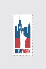 postage stamp with american symbol statue of liberty image
