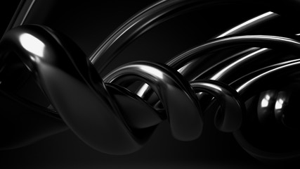 Black, stylish, modern metallic background with smooth lines. 3d illustration 3d rendering