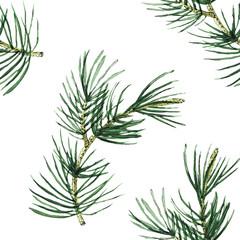 Pine branch watercolor seamless pattern illustration for decor a postcard, posters, gift wrapping, gift boxes, fabric and etc.
