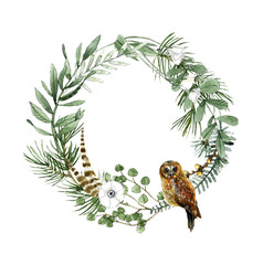 Herbs and owl wreath watercolor summer and spring illustration for  decor a postcard, icon, logo, badge, posters, lettering, invitations and etc.