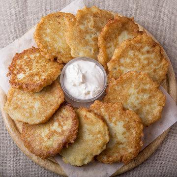 Potato pancakes. Draniki. Top view