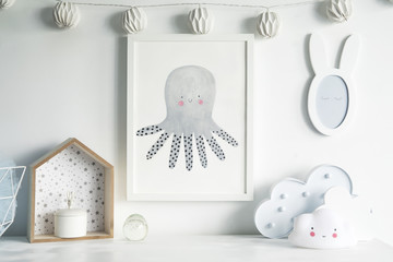 The modern scandinavian newborn baby room with mock up poster frame, white clouds, cotton lamps and mirror. Sunny and bright interior.