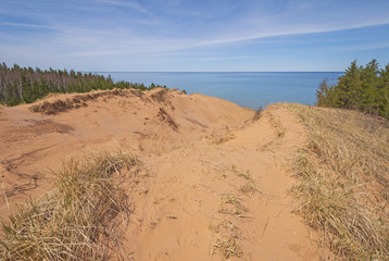 Looking at the Great Lakes over a Great Sand Dune