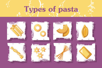 Types of italian pasta concept background. Cartoon illustration of types of italian pasta vector concept background for web design