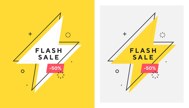 Trendy vector flash sale banne. Vivid lightning bolt in retro poster design style. Vintage colors and shapes. Red and yellow colors. 90s or 80s memphis style.