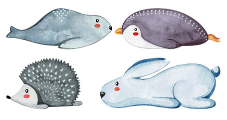 Set of different cute animals. Lazy animals. Watercolor.