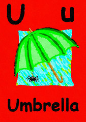 U is for umbrella. Watercolour cartoon painting of an umbrella and spider. Letter U, ABC kids wall art. Alphabet flashcard, nursery poster, playroom decor. Vibrant colours with a red background.