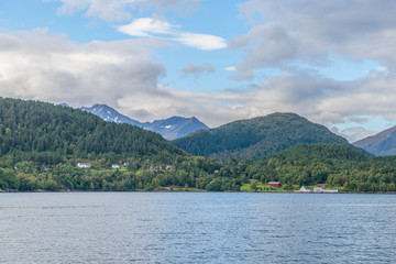 Norwegian fjords and mountains seen from the sea