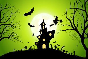 Halloween Background with Whitch and Haunted House.