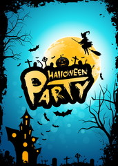 Halloween Party Background with Moon, Whitch and Haunted House