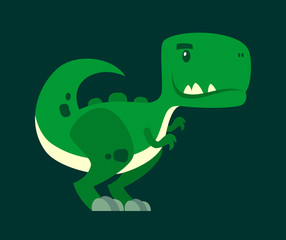 Cute green curious dinosaur - a cartoon character