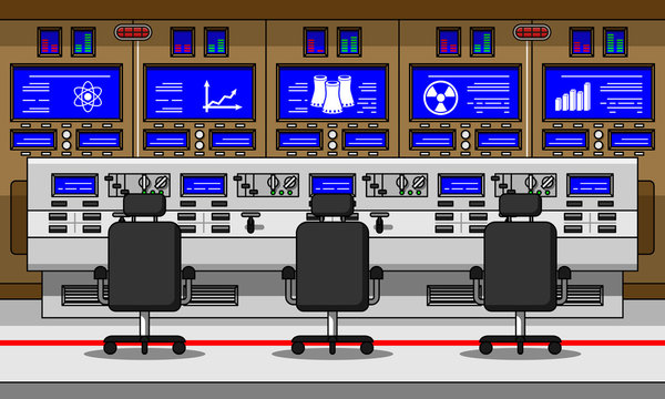 Nuclear power plant control room line vector illustration.