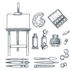 Art supplies, vector sketch illustration. Drawing, painting, calligraphy design elements. Craft and stationery stuff