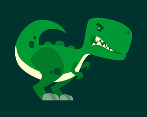 Cute green angry dinosaur vector cartoon character