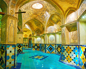 The arched gallery of Dressing Hall of Sultan Amir Ahmad Bath, Kashan, Iran