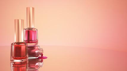 Nail polish. Blue background. Fashion, makeup, manicure, nails, beauty. 3D illustration, 3D rendering.