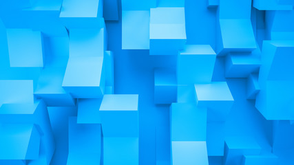 Azure abstract background with cube shapes, 3d illustration, 3d rendering.