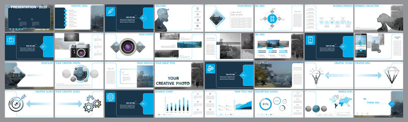 Original presentation templates. Set of blue, elements of infographics, white background. Flyer,postcard, corporate report, marketing,advertising,banner.Slide show, photo, slide for brochure,booklet Wall mural
