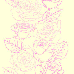 Roses seamless background pattern with hand drawn different. Vector pink and yellow illustration. Contour drawing.
