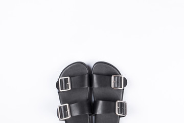 Black men's and women's fashion leather sandals