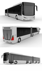 Set large city bus. Model template for placing your images and inscriptions