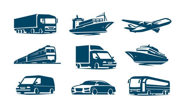 Transport icon set. Transportation symbol. Vector illustration