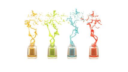 Isolated nail polish bottles with colored splashes.