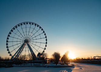 Montreal Observation Wheel at Sunrise in the Winter