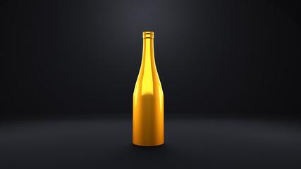 Golden bottle of champagne in a black room