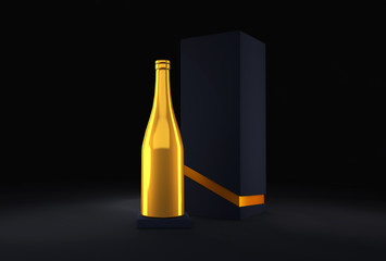 Luxury festive background with a bottle of champagne and elite black packaging
