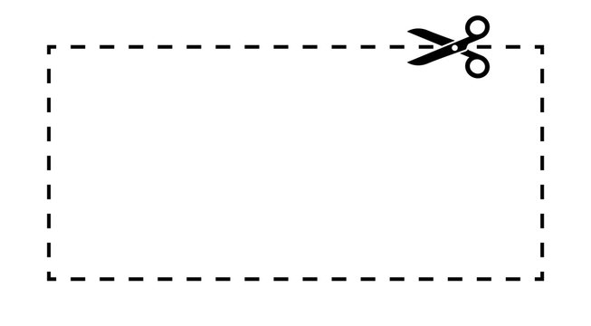 Coupon template. Dashed line with scissors black vector label.