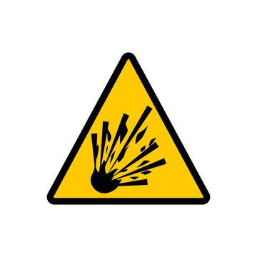 Yellow triangle explosive sign. Warning hazard explosive vector sign.