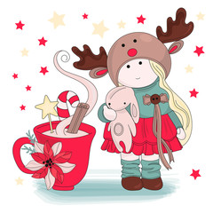 Merry Christmas Color Vector Illustration Set GIRL CONGRATULATION for Scrapbooking and Digital Print on Card and Photo Children's Albums