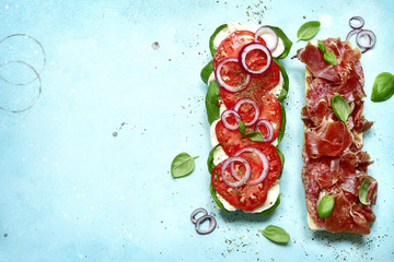 Italian sandwith with prosciutto crudo, mozzarella cheese, salame and basil.Top view with copy space.