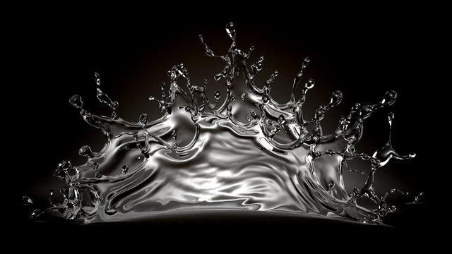 Splash water on a black background. 3d illustration, 3d rendering.