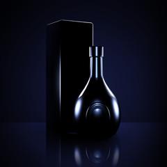 Luxury black background with elite alcohol. A bottle of liquor.