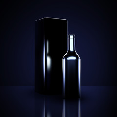 Luxury black background with elite alcohol. A bottle of wine.