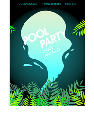 poster of party at the pool with tropical leaves on a dark background and splashing water, pool party